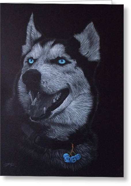 Blueberry Husky Greeting Card