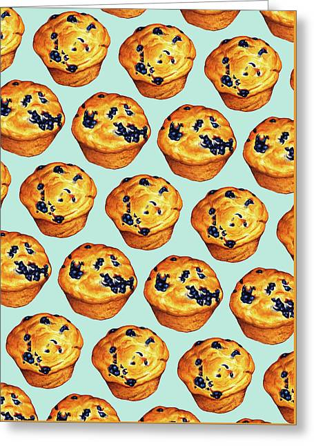 Blueberry Muffin Pattern Greeting Card by Kelly Gilleran