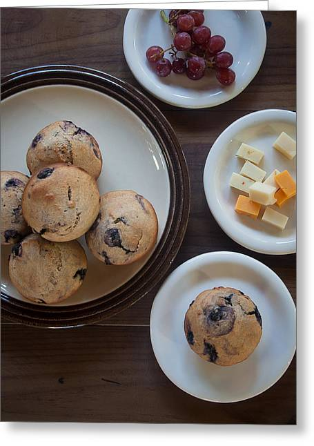 Blueberry Muffins Cheese And Grapes Greeting Card by Erin Cadigan