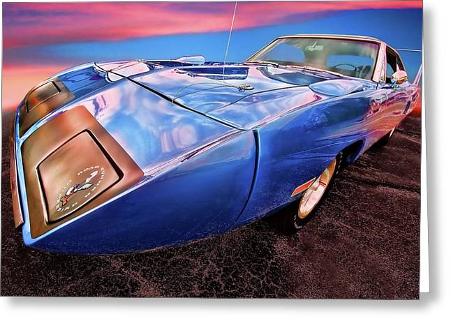 Dodge Coronet Super Bee Greeting Cards - Bluebird - 1970 Plymouth Road Runner Superbird Greeting Card by Gordon Dean II