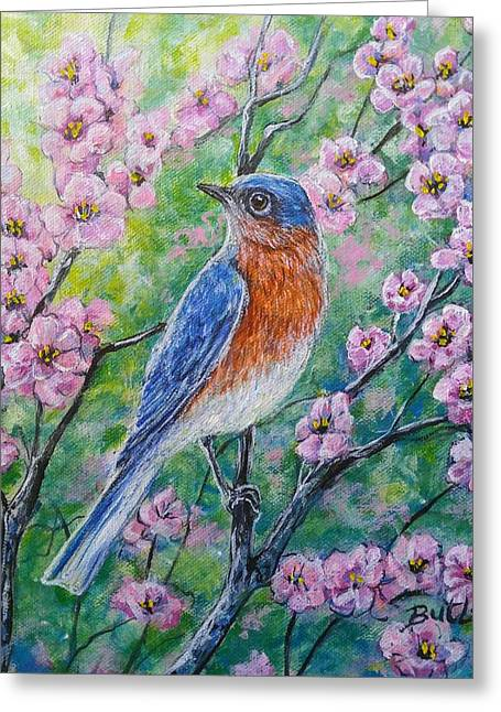 Bluebird And Blossoms Greeting Card by Gail Butler