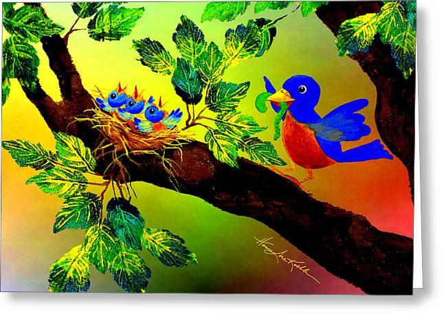 Bluebird Baby Breakfast Greeting Card