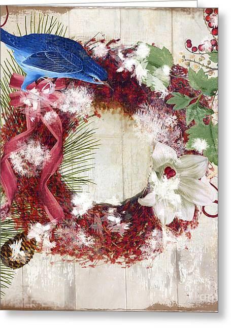 Bluebird Christmas I Greeting Card by Mindy Sommers