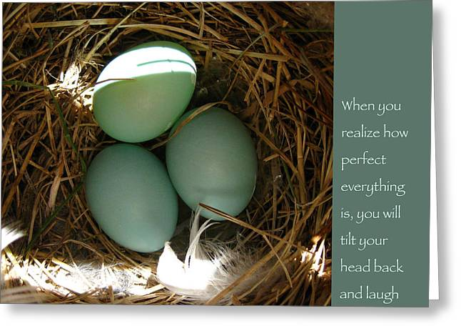 Bluebird Eggs With Buddha Quote Greeting Card