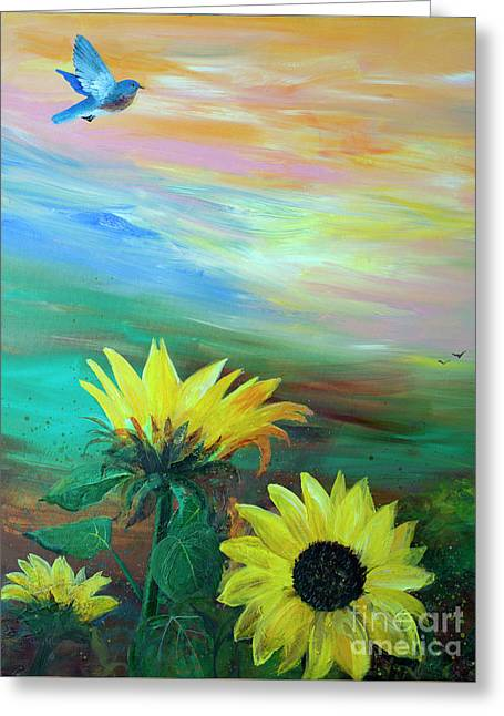 Bluebird Flying Over Sunflowers Greeting Card