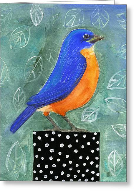 Bluebird Black Dot Box Greeting Card by Blenda Tyvoll