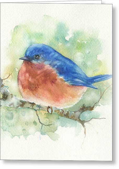 Bluebird On Twig Greeting Card by Peggy Wilson
