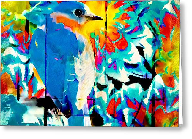 Bluebird Pop Art Greeting Card