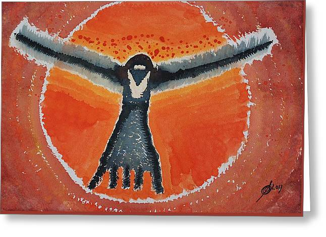 Bluebird Shaman Original Painting Greeting Card by Sol Luckman
