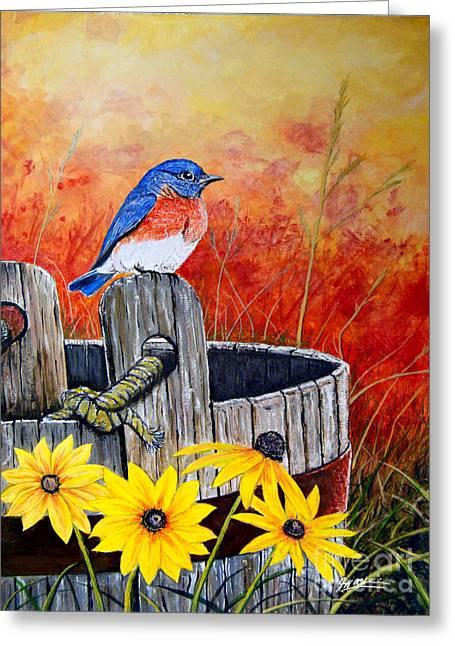 Bluebird Spring  Greeting Card by Jeff McJunkin