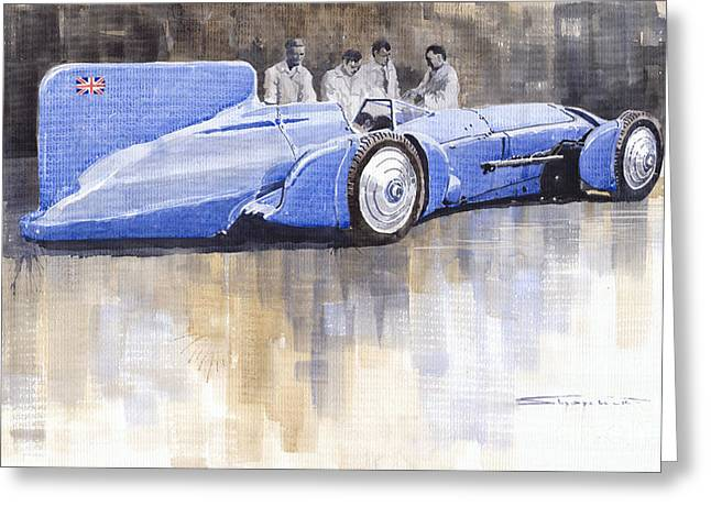 Campbell Greeting Cards - Bluebird world land speed record car 1931 Greeting Card by Yuriy  Shevchuk
