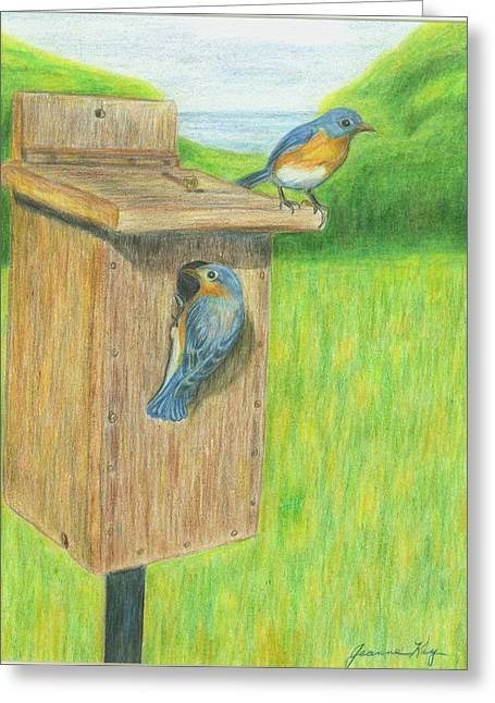 Greeting Card featuring the painting Bluebirds by Jeanne Kay Juhos