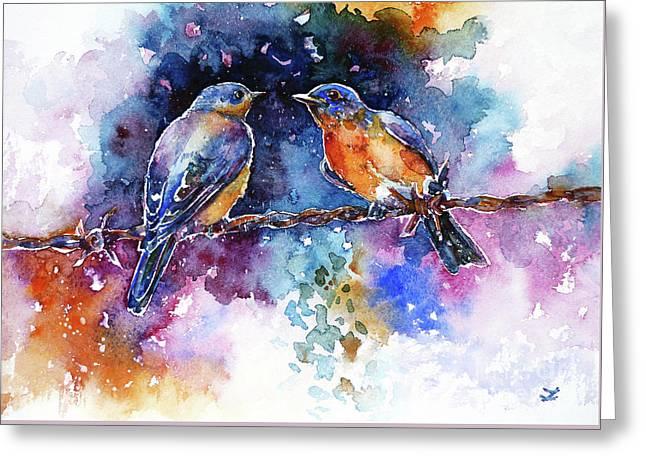 Greeting Card featuring the painting Bluebirds by Zaira Dzhaubaeva