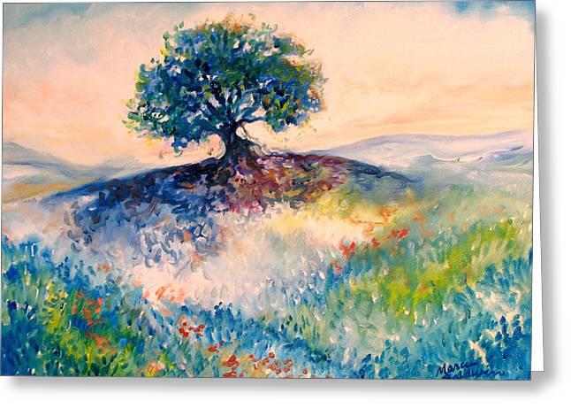 Bluebonnet Hill Greeting Card by Marcia Baldwin