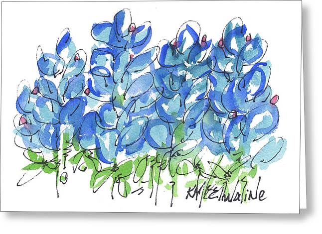 Bluebonnet Dance Whimsey,by Kathleen Mcelwaine Southern Charm Print Watercolor, Painting, Greeting Card by Kathleen McElwaine