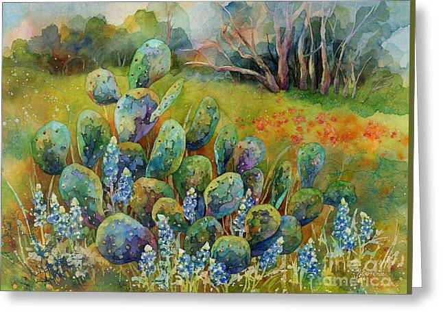 Bluebonnets And Cactus Greeting Card by Hailey E Herrera