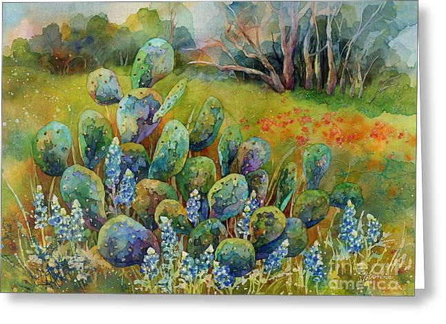 Bluebonnets And Cactus Greeting Card