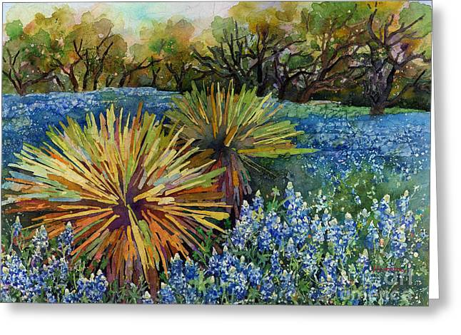 Bluebonnets And Yucca Greeting Card by Hailey E Herrera