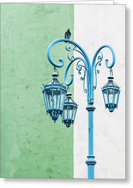 Blue,green And White Greeting Card