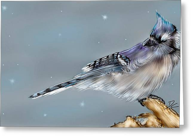 Greeting Card featuring the digital art Winter Bluejay by Darren Cannell