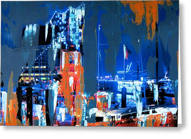 Blueport With Fire Ship Greeting Card