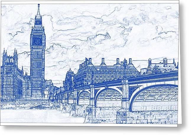 Architectural blueprint greeting cards page 13 of 19 fine art blueprint drawing of london greeting card malvernweather Choice Image