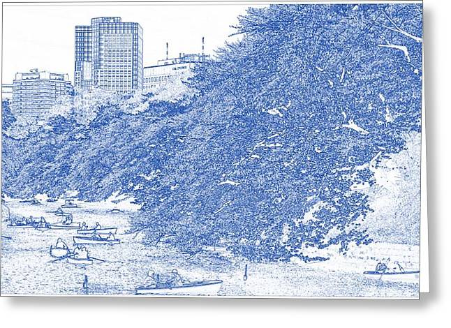 Blueprint Drawing Of Modern Building 12 Boat Cherry Blossom Park River Spring Tokyo Greeting Card by Celestial Images