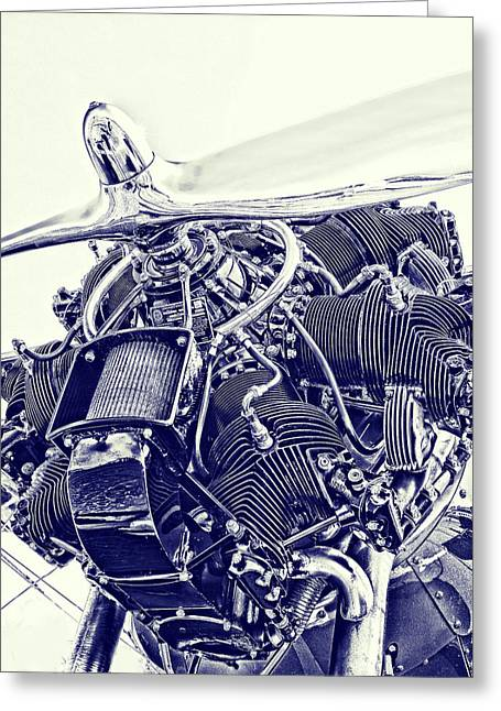 Plane Engine Greeting Cards - Blueprint Radial Greeting Card by Steven Richardson