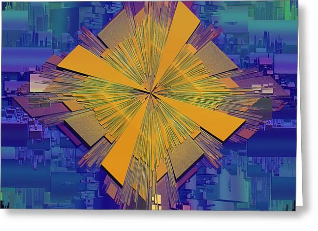 Blues Abstract Greeting Card by Deborah Benoit