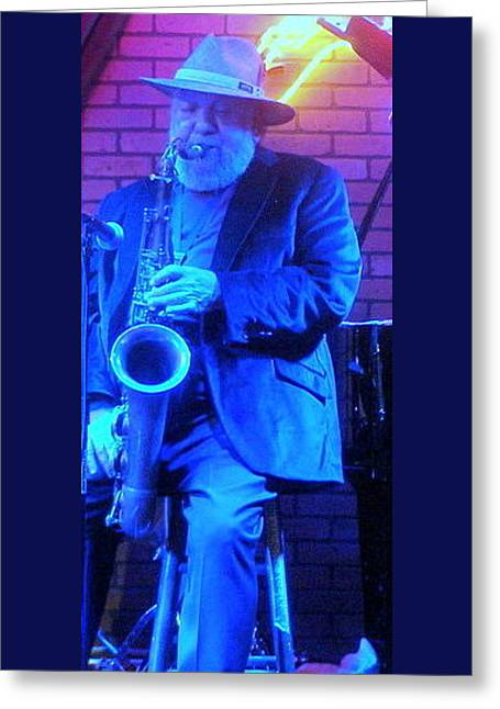 Blues And Sax Greeting Card by Louis Meyer