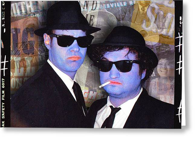 Blues Brothers Sepia Greeting Card by Tony Rubino