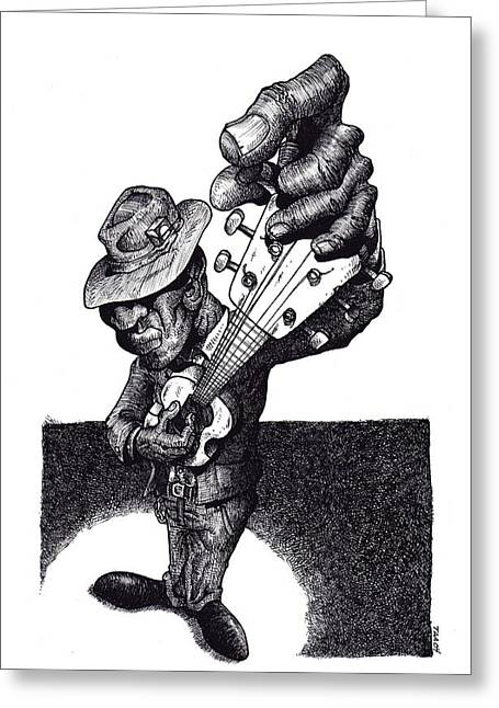 Blues Guitar Greeting Card by Tobey Anderson