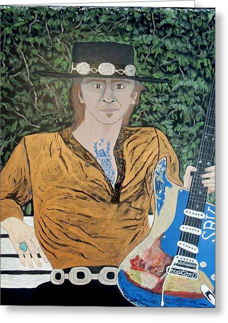 Blues In The Park With Stevie Ray Vaughan. Greeting Card by Ken Zabel
