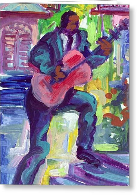 Blues Man On Steps Greeting Card by Saundra Bolen Samuel