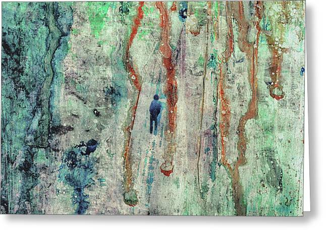 Standing In The Rain - Large Abstract Urban Style Painting Greeting Card