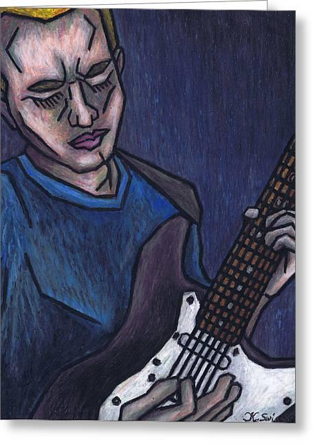 Blues Player Greeting Card by Kamil Swiatek