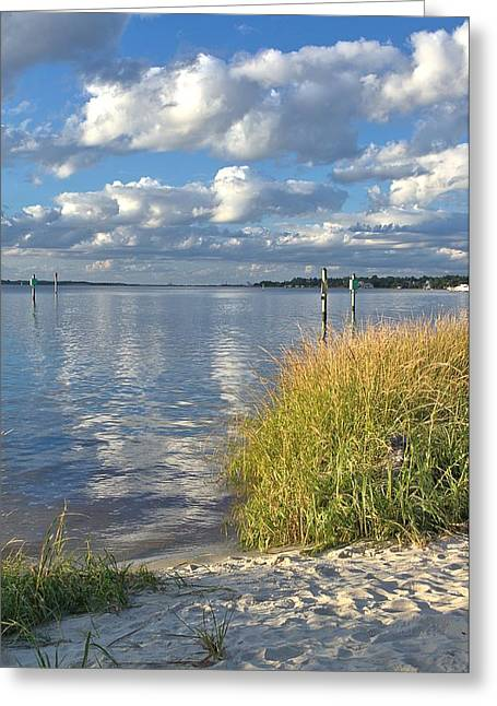 Blues Skies Of The Cape Fear River Greeting Card