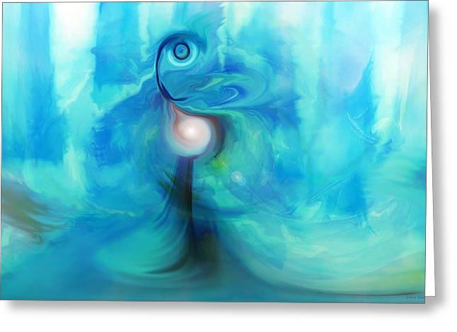 Greeting Card featuring the digital art Bluescape by Linda Sannuti