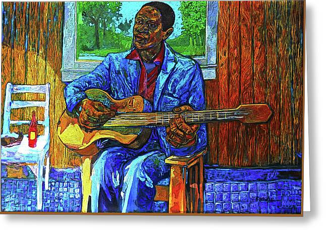 Bluesman, Fish And Hot Sause Greeting Card