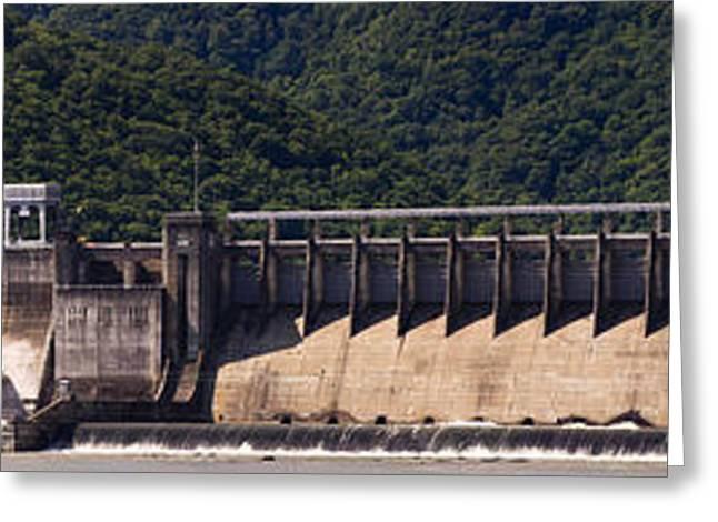 Bluestone West Virginia Dam Panorama Greeting Card by Teresa Mucha