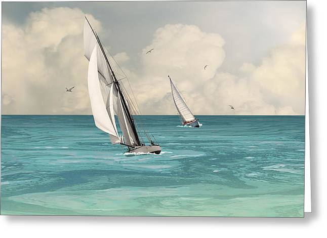 Bluewater Cruising Sailboats Greeting Card