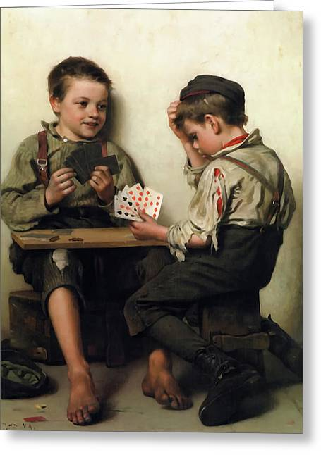 Bluffing Greeting Card by John George Brown