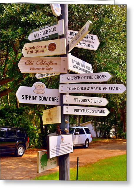 Bluffton Sc Directions Greeting Card by Lisa Wooten