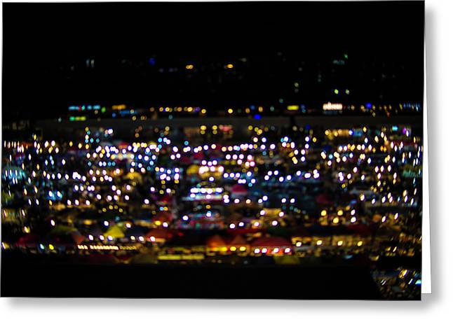 Blurred City Lights  Greeting Card