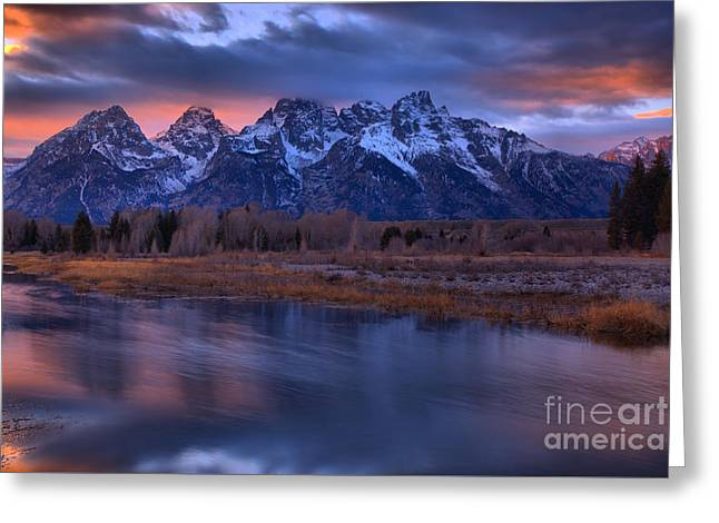 Blurred Snake River Sunset Reflections Greeting Card