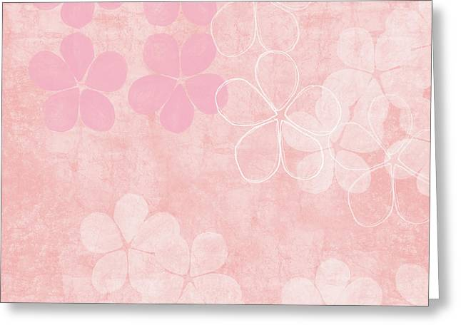 Blush Blossoms 1- Art By Linda Woods Greeting Card