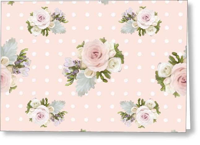 Blush Pink Floral Rose Cluster W Dot Bedding Home Decor Art Greeting Card by Audrey Jeanne Roberts