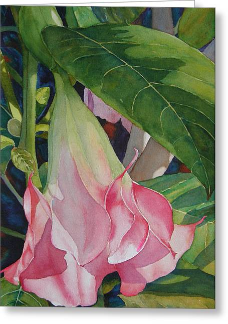 Datura Paintings Greeting Cards - Blushing Angel Greeting Card by Judy Mercer