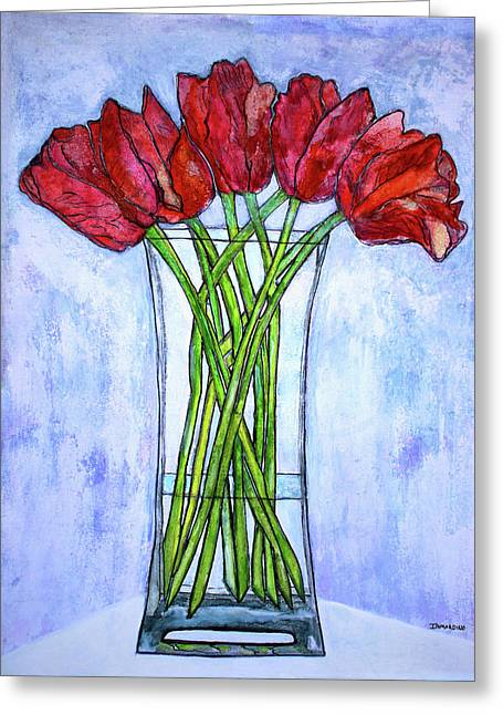 Blushing Red Tulips Greeting Card by Janet Immordino
