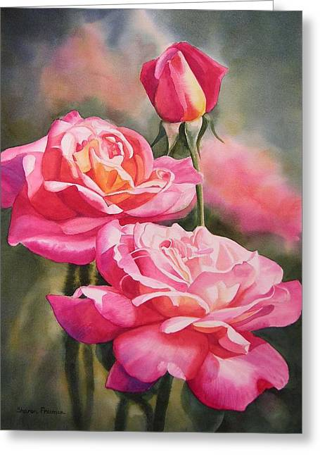 Blushing Roses With Bud Greeting Card